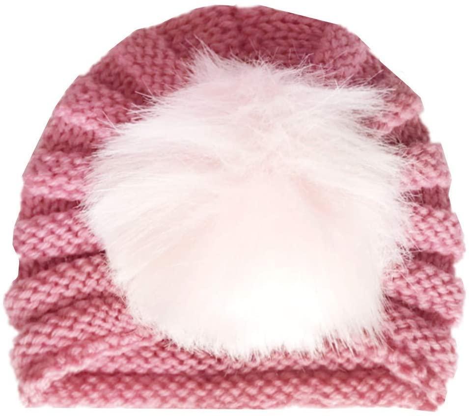 Children's Woolen hat, Earmuffs, Head hat, Fur Ball hat, Indian hat Newborn Baby Boy Girl Knitted Turban Pom Hat Winter Warm Beanie