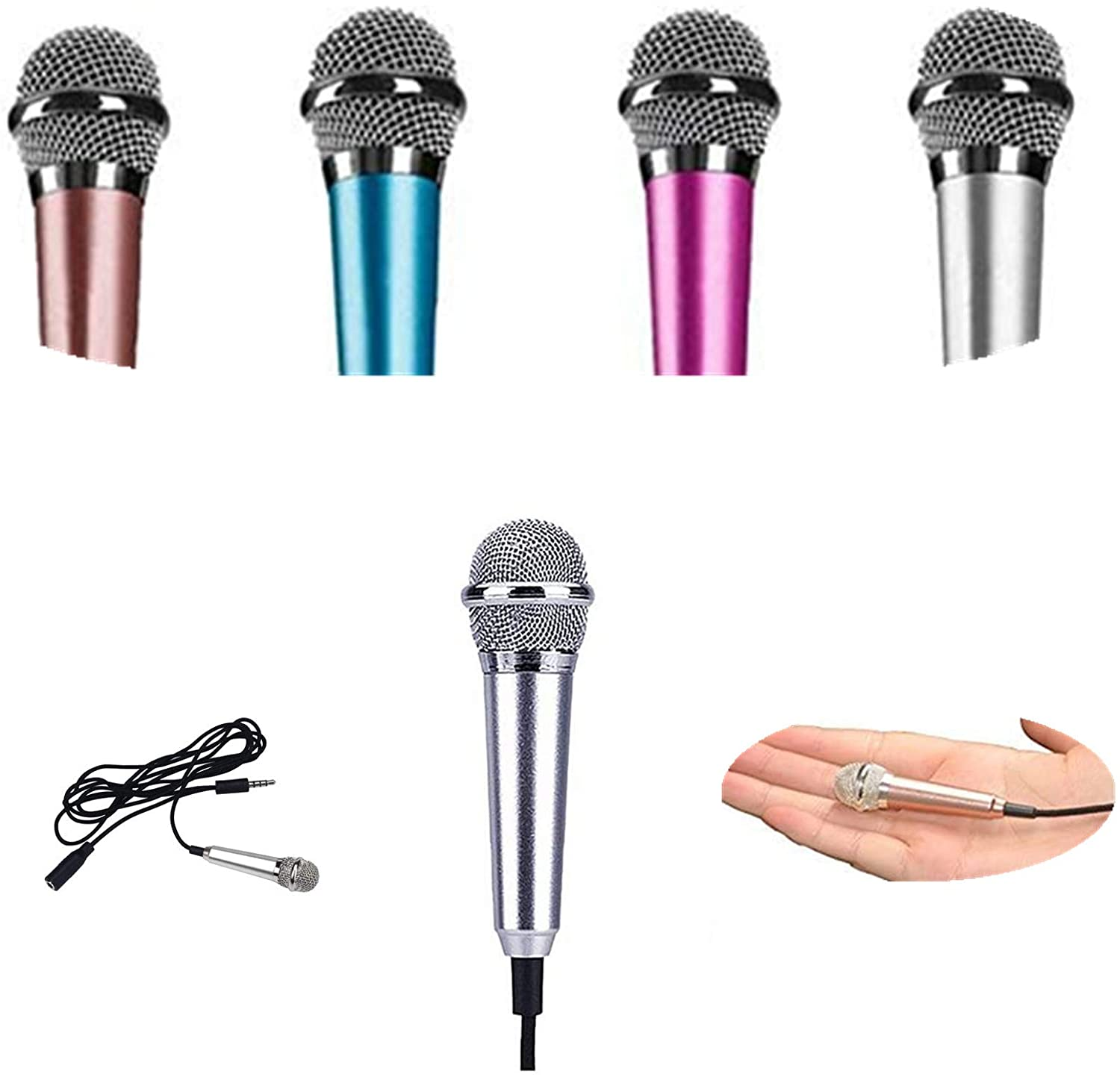 Mini Microphone, Portable Vocal/Instrument Microphone Suit for Phones/Android Phone and Laptops (Silver)