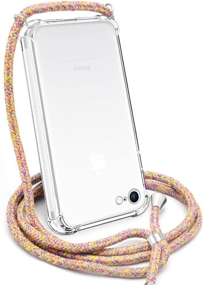 Crossbody Case for iPhone 7 Plus,Crossbody Case for iPhone 8 Plus,YESPURE Clear TPU Soft iPhone 7Plus Case/iPhone 8Plus Case Holder with Neck Cord Lanyard Strap-Clear - Rainbow Yellow