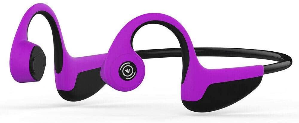 Bone Conduction Headphones, Bluetooth 5.0 Bone Conduction Wireless Open-Ear Headphones Sweatproof Cycling,Purple