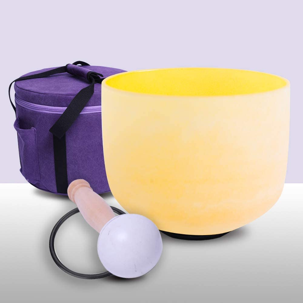 432Hz Perfect Pitch E Note Solar Plexus Chakra Yellow Color Frosted Quartz Crystal Singing Bowl 8 inch + mallet + o-ring +carrier