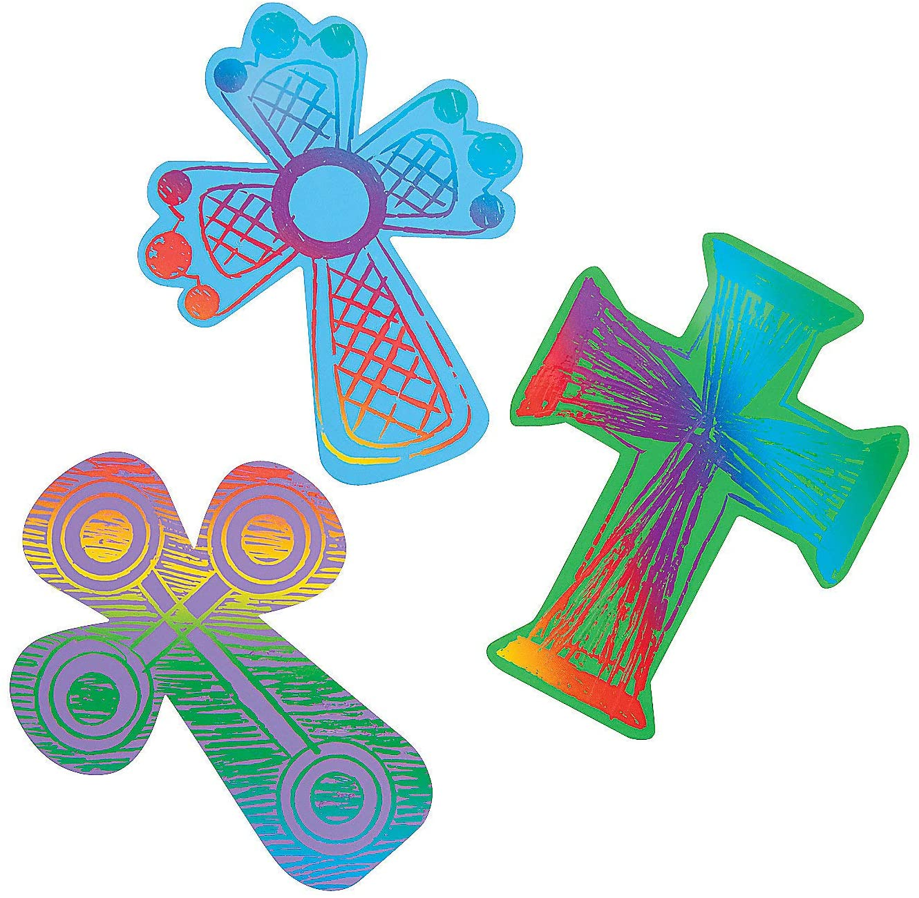 Colored Cross Magic Scratch - 24 Count - Crafts for Kids and Fun Home Activities