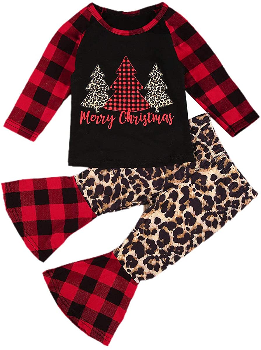 Toddler Baby Girl Christmas Outfit Long Sleeve Leopard T-Shirt Top Plaid Flare Bell Bottom Pants 2Pcs Fall Clothes Set