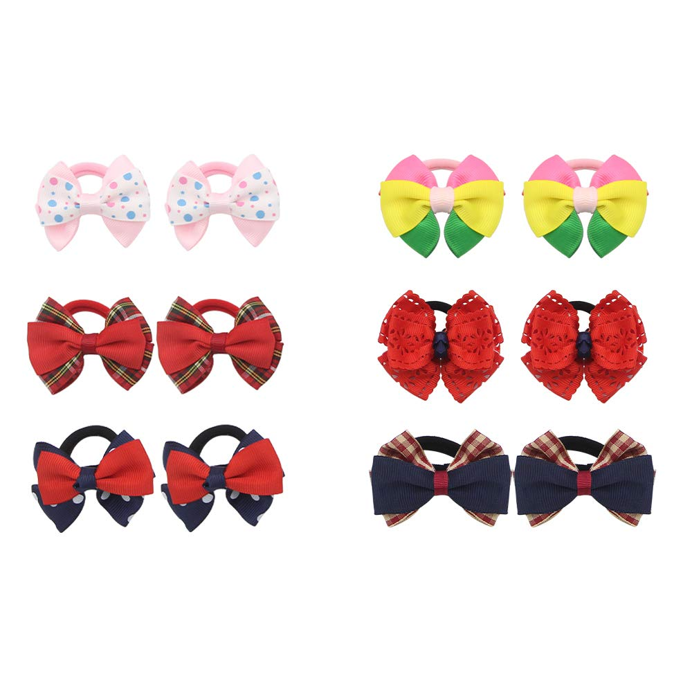2In Baby Girls Bow Hair Ties, Tiny Bows Elastic Hair Bands, Grosgrain Ribbon Ponytail Holders, Bowknot Hair Accessories for Newborn Infants Toddlers Kids Children,12Pcs in Pairs (Multi Colors)