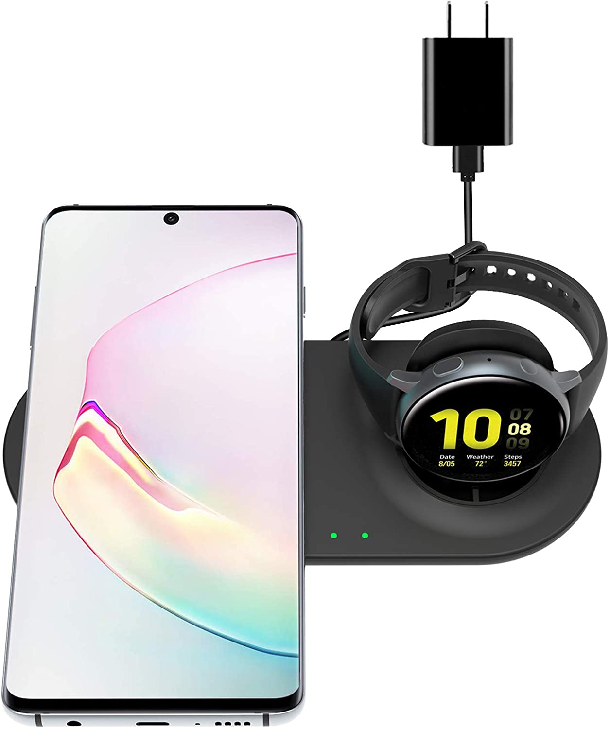 EloBeth Wireless Charging Station Compatible with Samsung Galaxy Watch Charger Active 2 1 Galaxy Watch 3 S20/S10/Note10/9/8/Buds Live Qi-Certified Android Devices Wireless Charger Stand Pad Dock