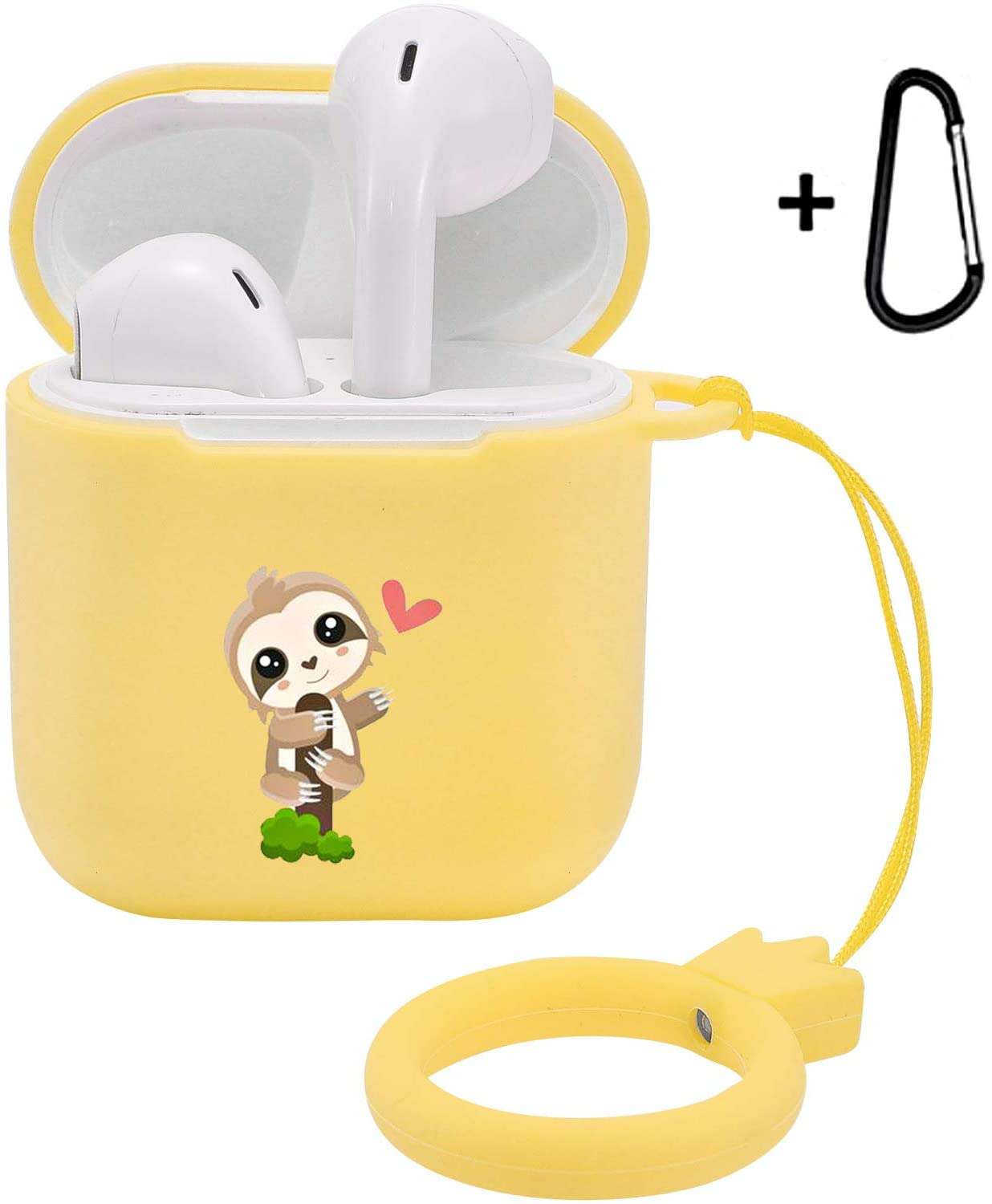 LuGeKe Compatible with Airpods 1&2 Soft Silicone Cartoon Case,Luxury Funny Cute Stylish Cartoon Designer Cute Cover for Girls Boys Kids Men Women Air pods (Support Wireless Charge,Happy Sloth)