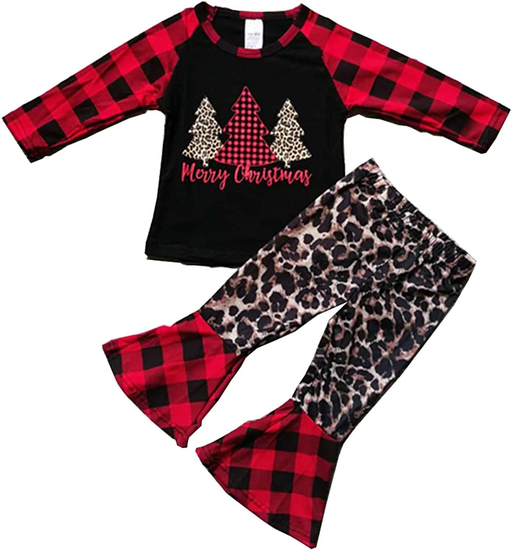 MODNTOGA ToddlerKids Baby Girl Leopard Outfit Long Sleeve Letter Print Shirt+Bell-Bottom Pants Set