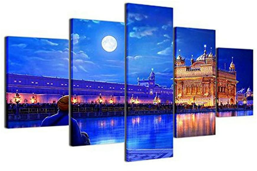 [Small] Large Sikh Canvas Wall Art Pictures of the Golden Temple at Amritsar - Set of 5 - Multi Panel Artwork - Modern Split Canvases(40W x 20H, Framed)