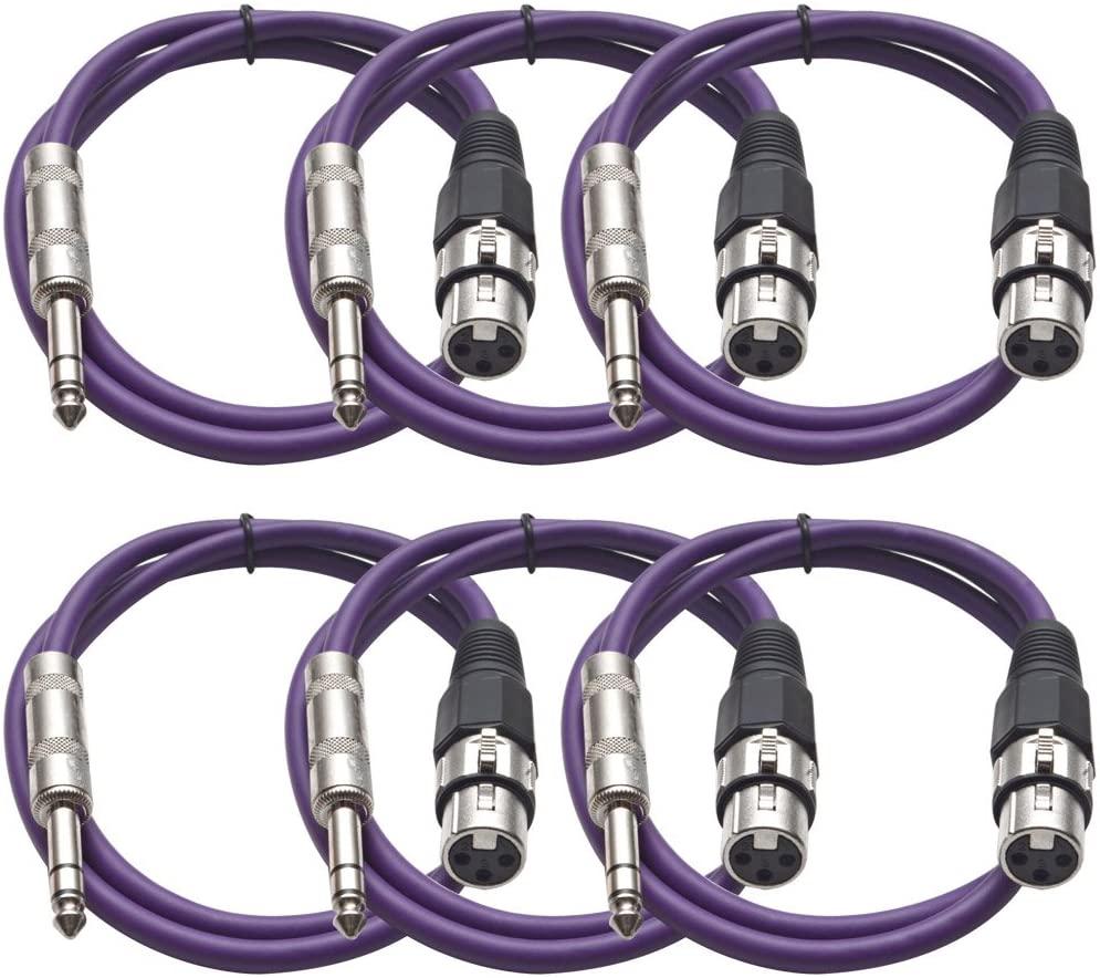 Seismic Audio SATRXL-F3Purple6 3-Feet XLR Female to 1/4-Inch TRS Patch Cables - Purple