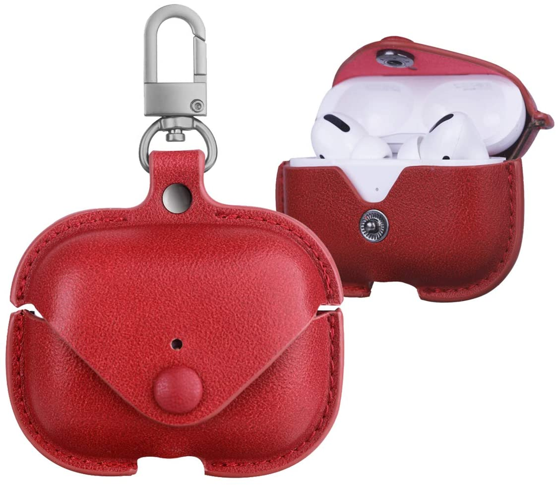 Leather Case for AirPods Pro with Keychain, PU Protective Case Cover Skin for AirPods 3 Charging Case by Jakarol (Red)