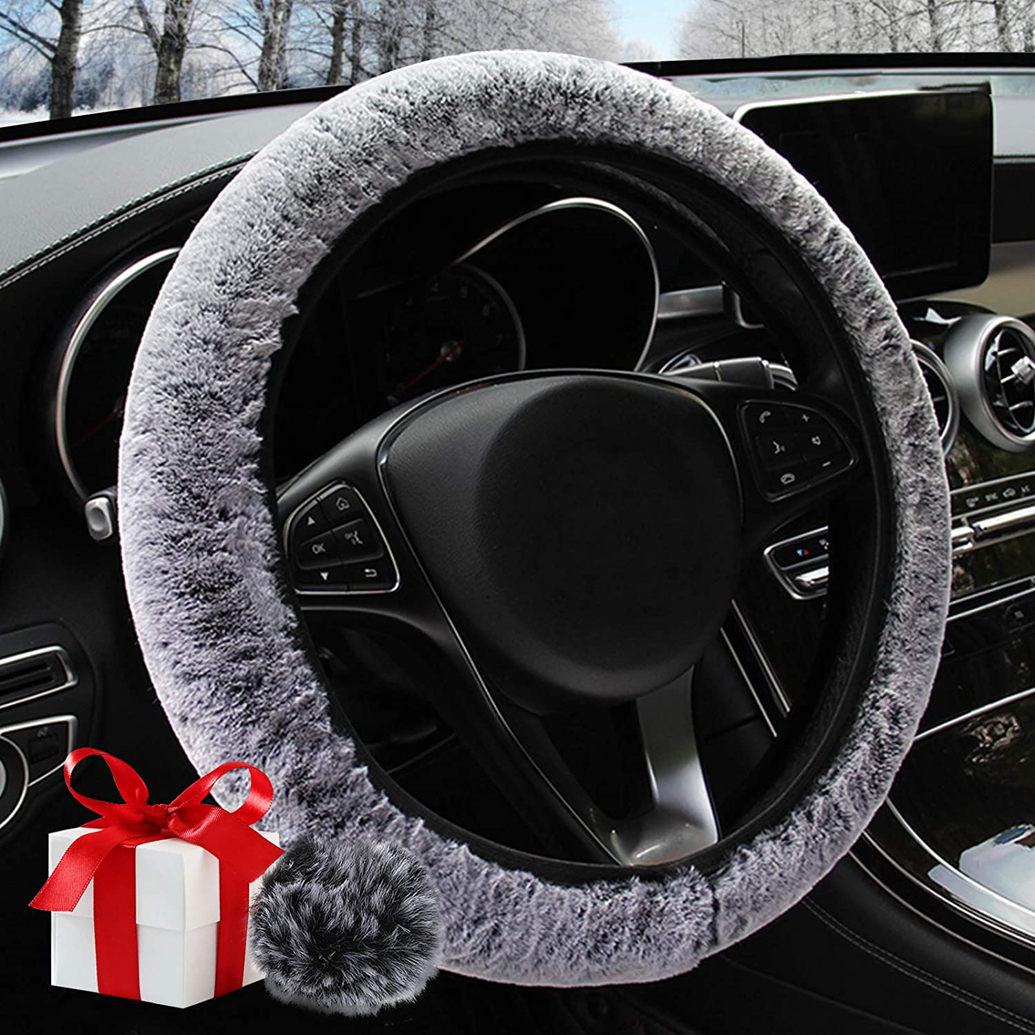 Fluffy Steering Wheel Cover,Fuzzy Steering Wheel Cover with Fur Pom Pom Keychain,Winter Warm, Universal, Anti-Slip, Gray