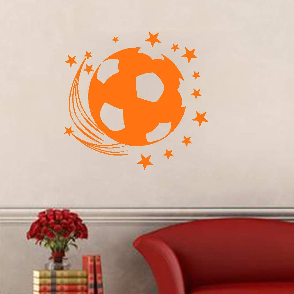 Stars Soccer Football Wall Decal Sticker Art Vinyl Decor Removable PVC Decoration for Bedroom Kids Room (Orange)