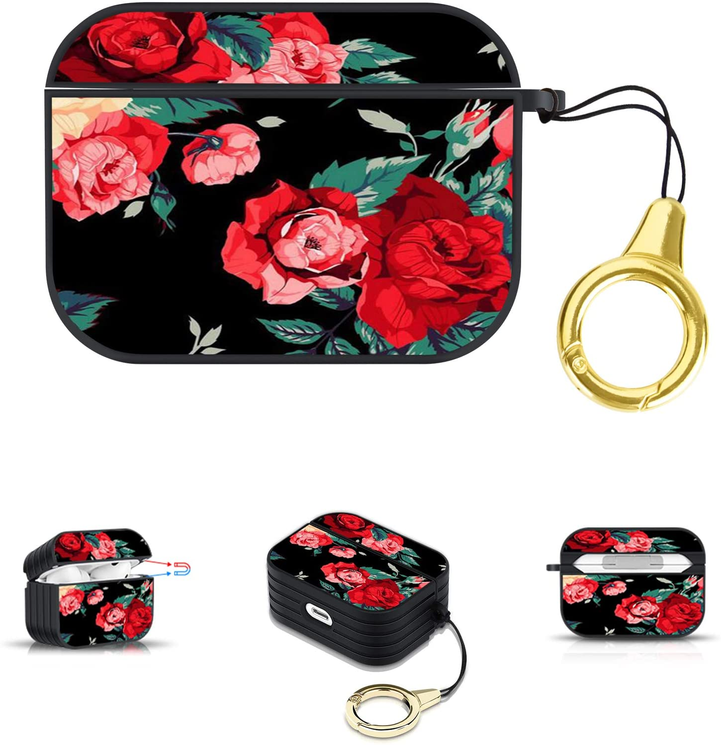 AIGOMARA AirPods Pro Case Red Flower Cute Stripe Non-Slip Edge Magnetic Design Shockproof Full Protective Hard Cover for AirPods Pro Charging Box with Lanyard Buckle-Black