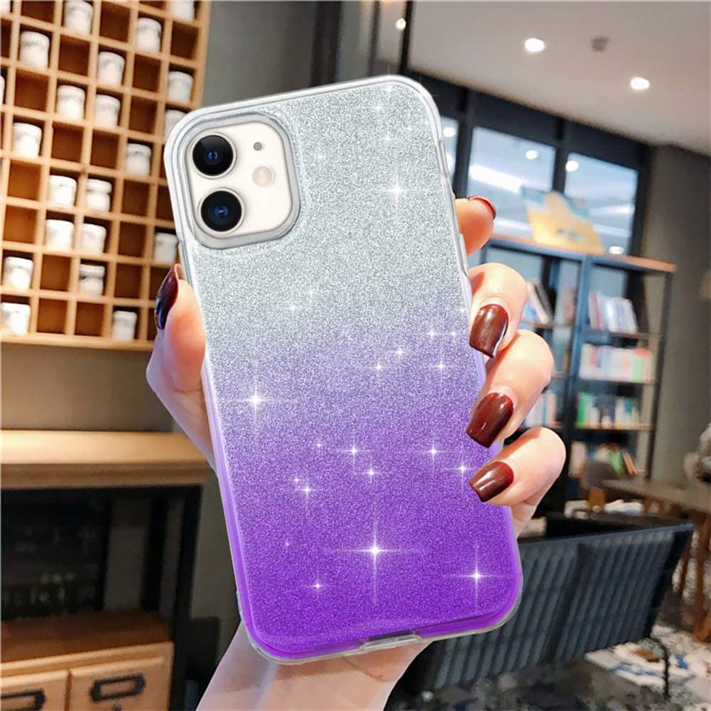 Artemiss iPhone 11 Case, Clear Luxury Bling Glitter Sparkle Cute Girls Women Crystal Transparent Case, 2 Usage Clear TPU and PC Protective Cover Cases for iPhone 11 2019 6.1 Inch - Gradient Purple