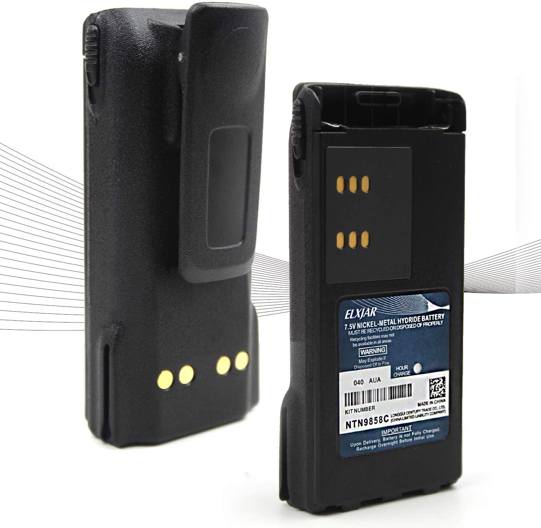 (2-Pack) 7.5V 2100mAh Ni-MH Two-Way Radio Battery for Motorola NTN9815/A/AR/B NTN9858/A/AR/B/C XTS1500 XTS2500 PR1500 MT1500 with Belt Clip