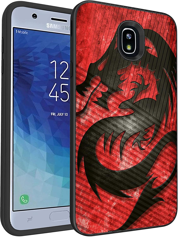 MINITURTLE Compatible with Samsung Galaxy J7 (2018), J7 Aero, J7 Aura, J7 Crown, J7 Eon, J7 Refine, J7 Star, J7 Top Slim Hard Embossed Shell Grip Hybrid Case Protection - Fire Dragon