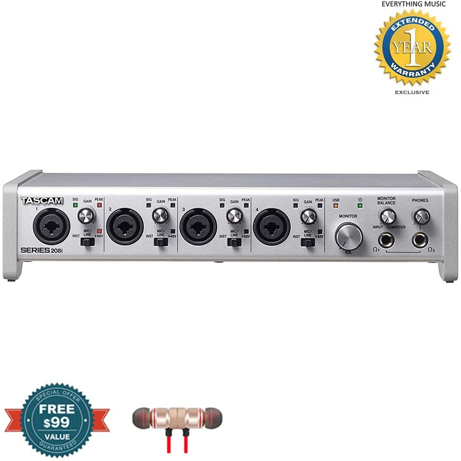 Tascam SERIES 208i 20 IN/8 OUT USB Audio/MIDI Interface includes Free Wireless Earbuds - Stereo Bluetooth In-ear and 1 Year Everything Music Extended Warranty