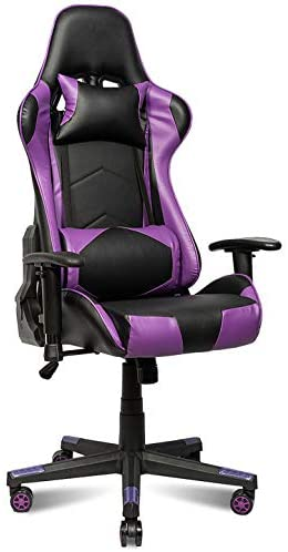 Gaming Chair E-Sport Rocking Chair Racing Chair PU Leather High Back Home Office Chair Adjustable Recliner with Headrest Loin Support Pillow Ergonomic Backrest and Seat Chair (Purple)