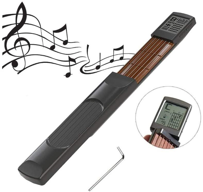 Digital Guitar Chord Trainer, Portable Guitar Neck Pocket Guitar Practice Tool with Rotatable Screen for Beginner Finger