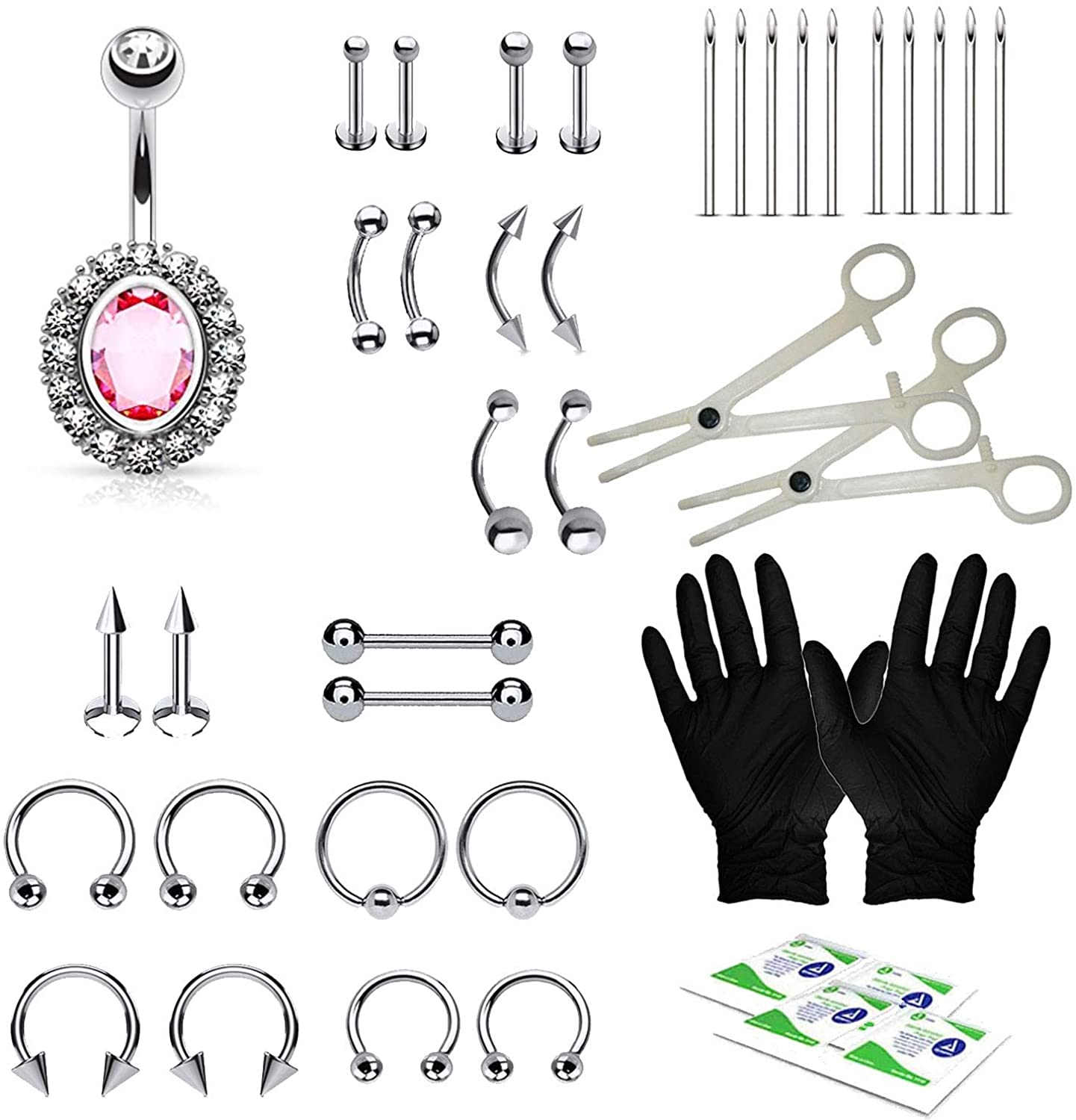 BodyJ4You 36PC PRO Piercing Kit Steel 14G 16G Belly Ring Tongue Tragus Nipple Lip Nose Jewelry