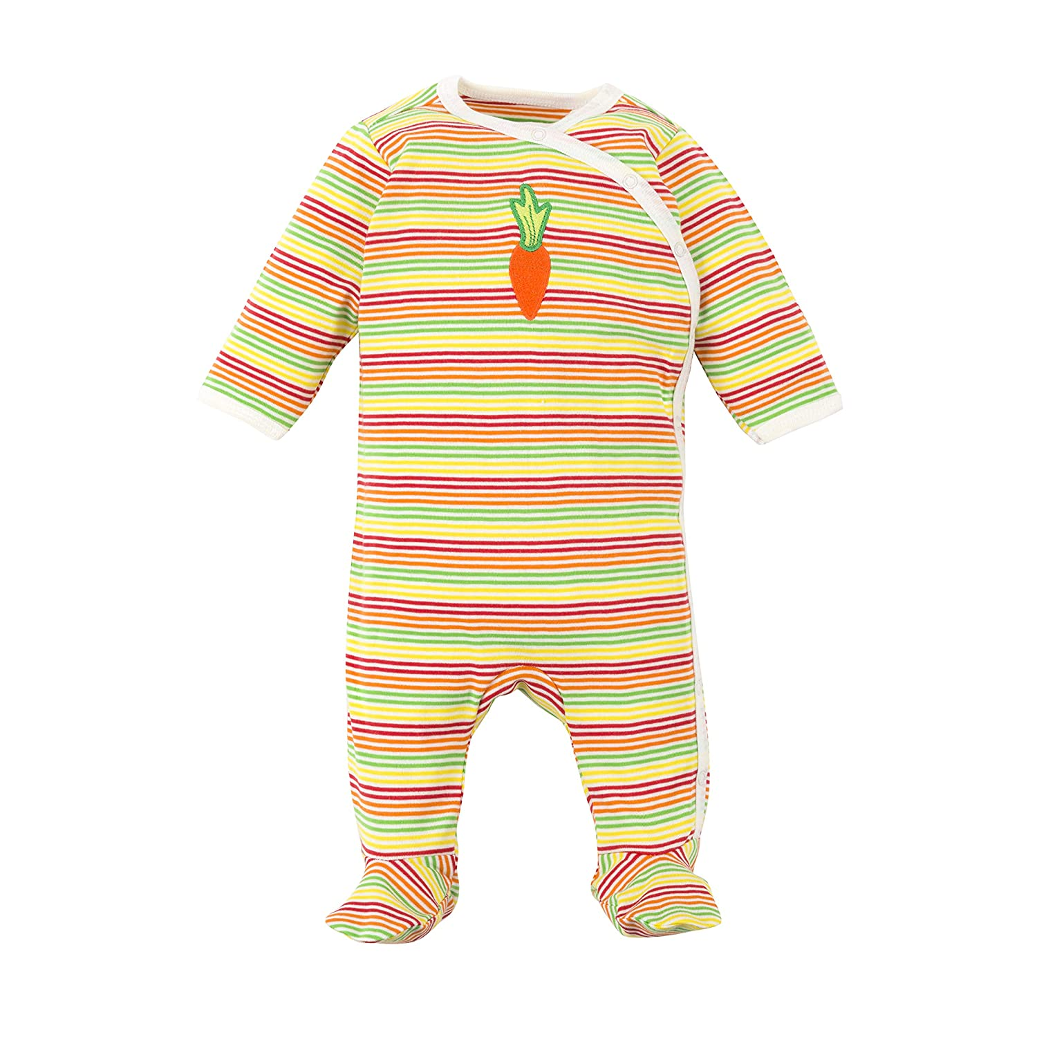 Under The Nile Organic Cotton Unisex Baby Multicolor Stripe Carrot Side Snap Footie with fold-Over Mittens, 0-3m