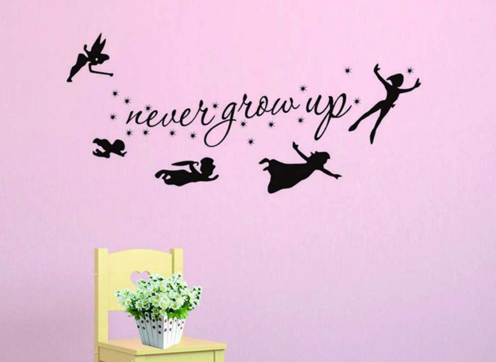bulnn Bedroom Wall Sticker Cartoon Image of Peter Pan Has Never Grown Up and Creative Labels for Kids Home Decor Mural Art