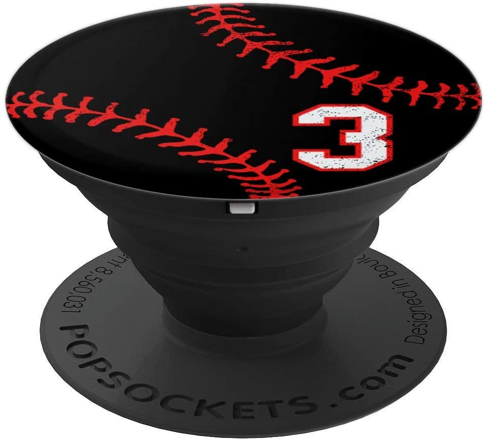 Baseball number 3 in red and black phone stand PopSockets Grip and Stand for Phones and Tablets