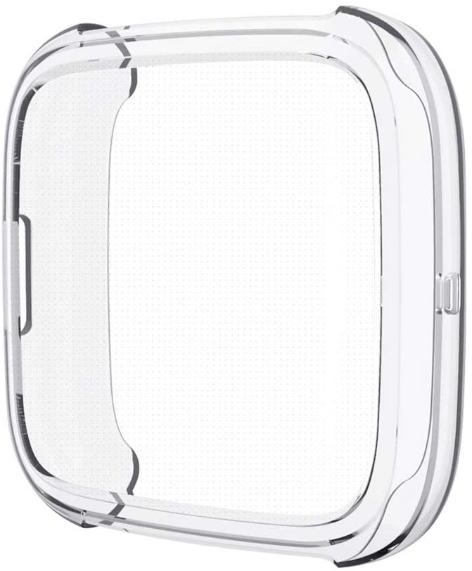 PINHEN Screen Protector Case Compatible with Fitbit Versa 2 - TPU Plated Scratch-Proof All-Around Protective Bumper Shell Replacement for Fitbit Versa 2 Smartwatch, Clear