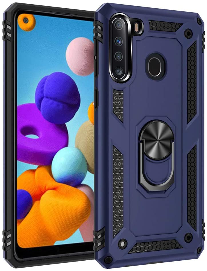 Telegaming Samsung A21 Case, Galaxy A21 Case with HD Screen Protector Kickstand Car Mount Holder, Heavy Duty Dual Layer Protection Phone Case Cover for Samsung A21 Blue