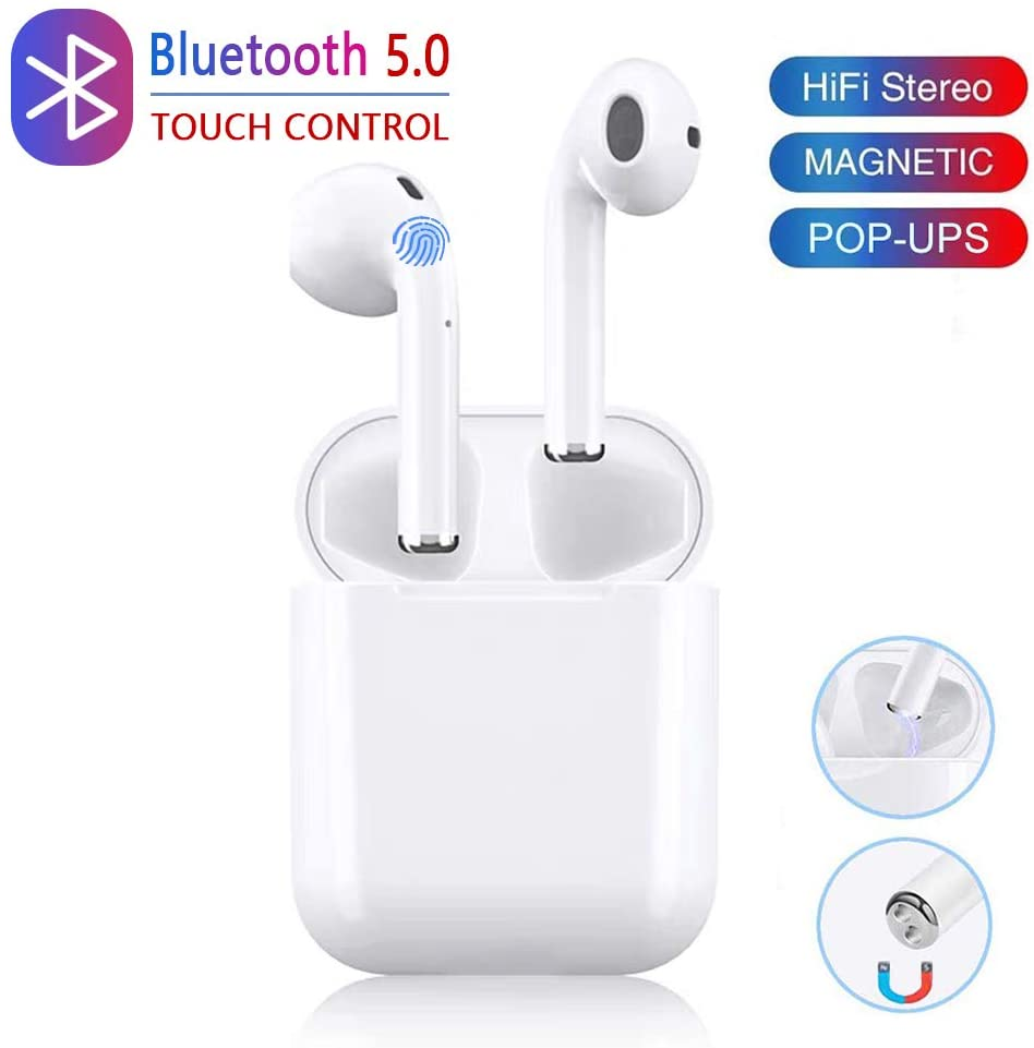 Wireless Earbuds 3D Stereo Noise Reduction Bluetooth Headphones Built-in Microphone Automatic Pairing with Charging Case Compatible with Android Airpods/Samsung