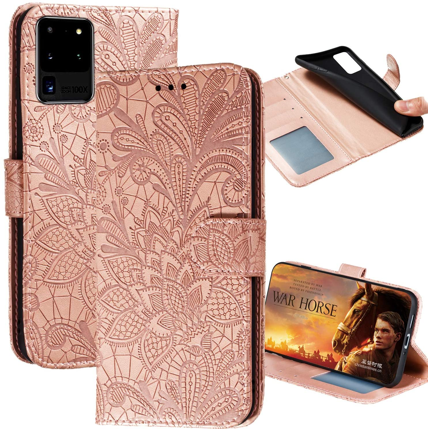 Samsung Galaxy S20 Ultra Wallet Case,Lace Embossed Flowers PU Leather Magnetic Flip Cover Stand Card Holders & Hand Strap Purse Phone Case for Samsung Galaxy S20 Ultra 5g(Rose Gold) LS