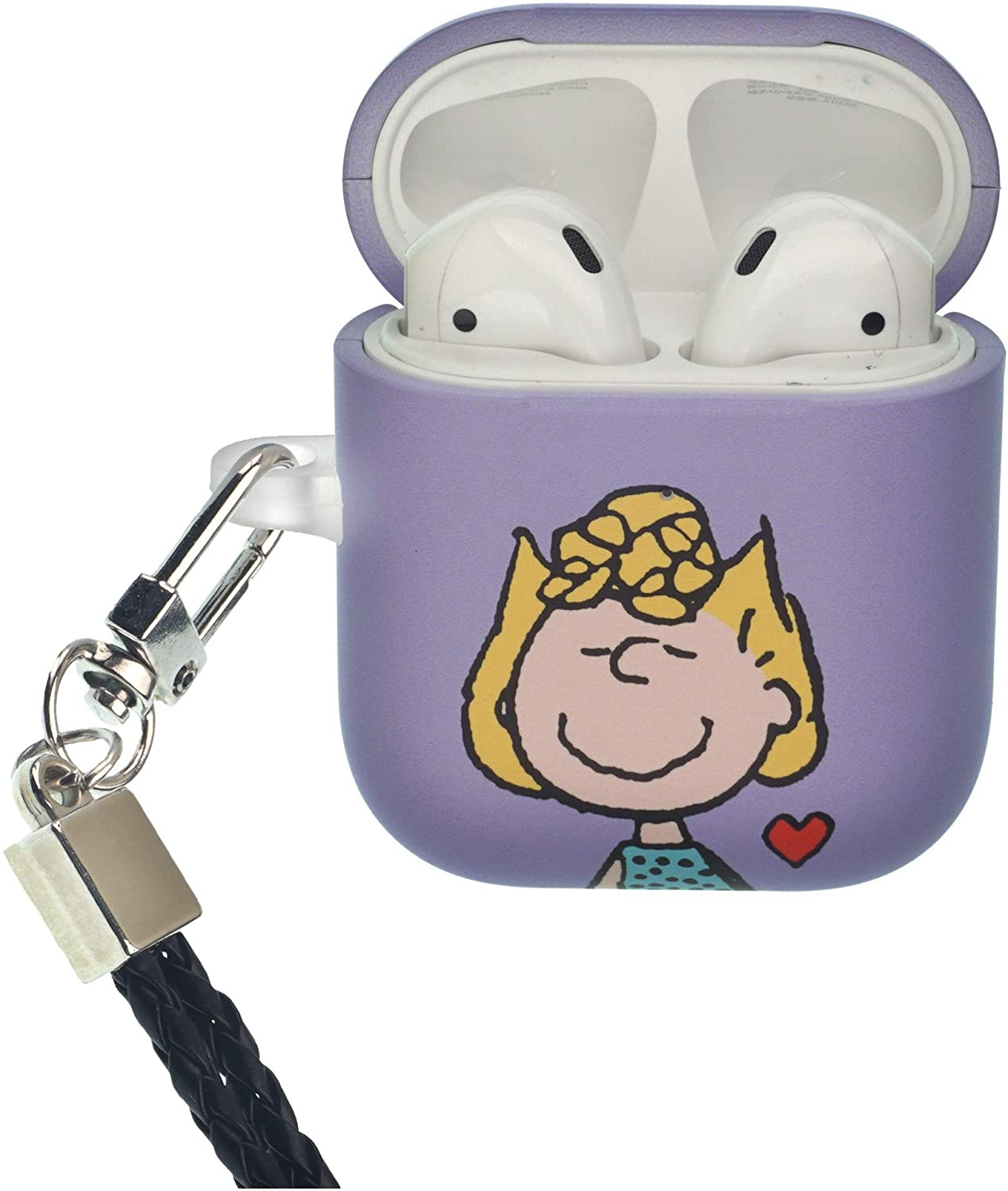 Peanuts Sally Brown AirPods Case with Neck Lanyard Protective Hard PC Shell Strap Hole Cover [Front LED Visible] Accessories Compatible with Apple Airpods 1 & AirPods 2 - Heart Sally