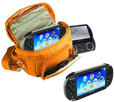 Orzly - Game & Console Travel Bag for Sony PSP Consoles (GO/VITA/1000/2000/3000) Has Special Compartments for Games & Accessories. Bag Includes Shoulder Strap + Carry Handle + Belt Loop - Orange