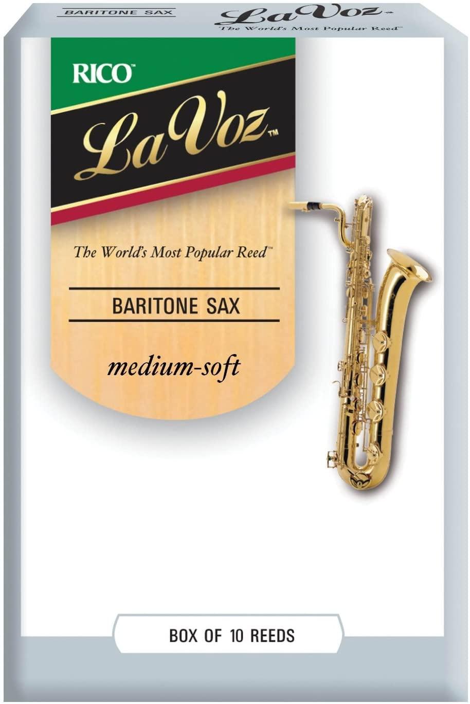 D'Addario Woodwinds La Voz Baritone Sax Reeds, Strength Medium-Soft, 10-pack - RLC10MS