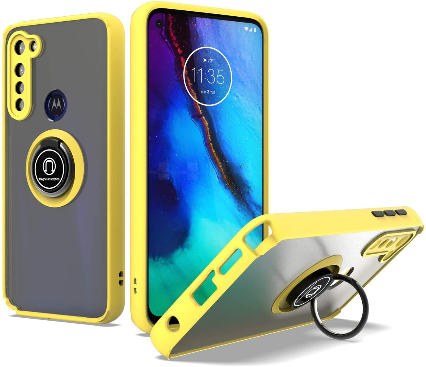 UNC Pro Cell Phone Case for Motorola Moto G-Stylus, TPU Hybrid Case with 360 Degrees Rotating Ring Kickstand, Shockproof Bumper Case, Yellow