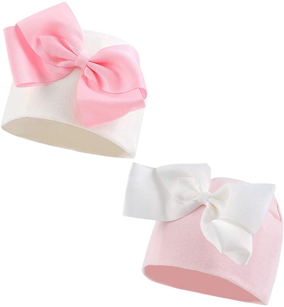 JANGANNSA Cotton Infant Girls Hat Cute Bow Baby Turban Hats for Girls Spring Autumn