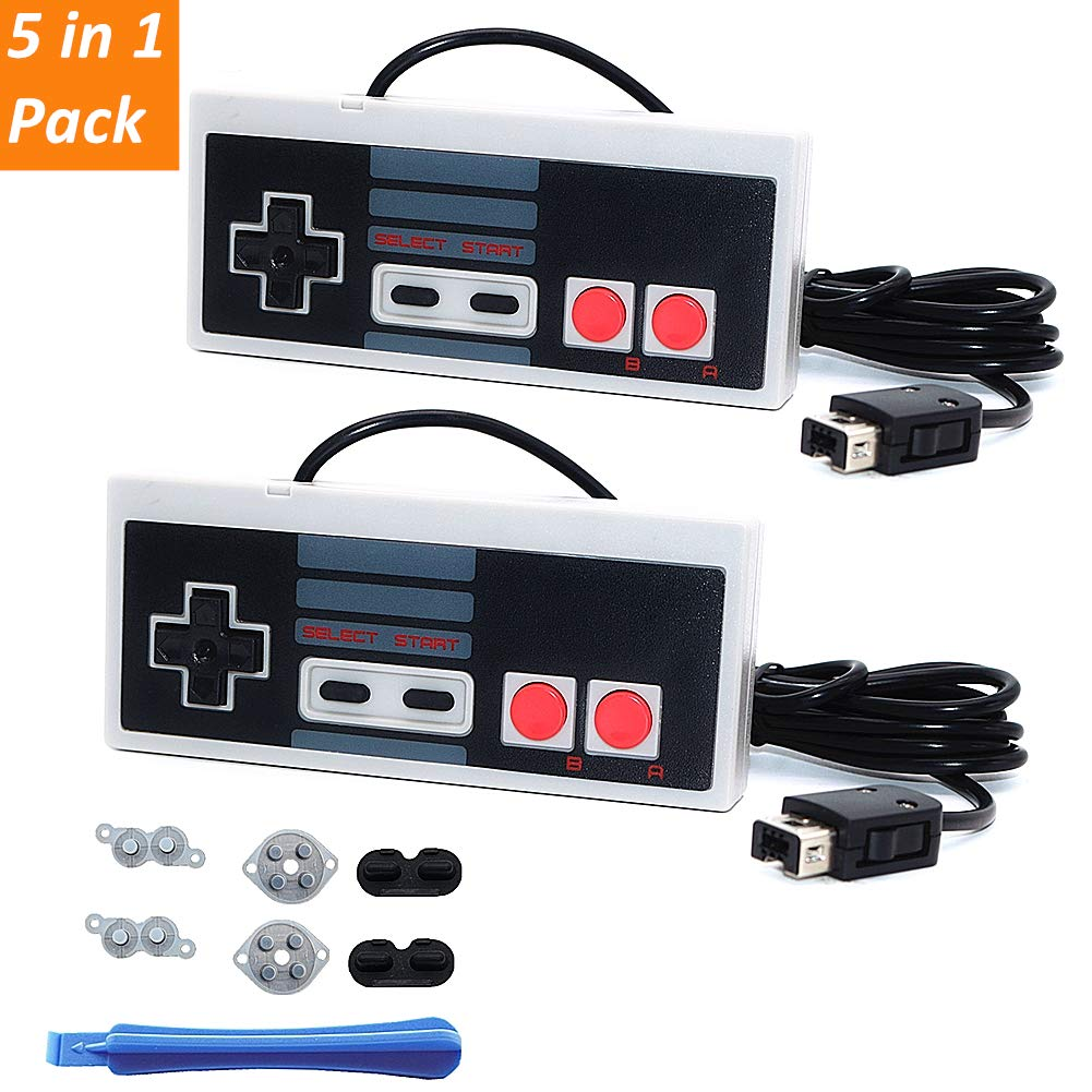 Roobeeo NES Classic Controller 2 Pack Nes Classic Controller for Nintendo Classic Mini Edition 6ft Long Cable Classic Mini Controllers with 2 Set Conductive Adhesive Pads Replacement