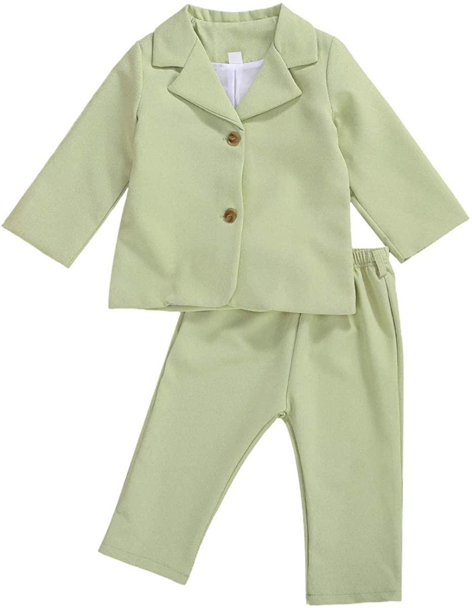 Toddler Baby Kids Girl Fall Winter Suit Set Long Sleeve Button Jacket Tops Legging Pants Formal Elegant Clothes