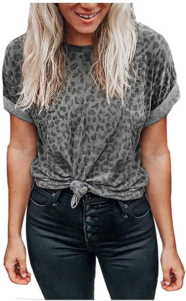 Women's T Shirt Casual Summer,Ladies Loose Short Sleeve Leopard Printed Tunic Blouse Fashion Shirt