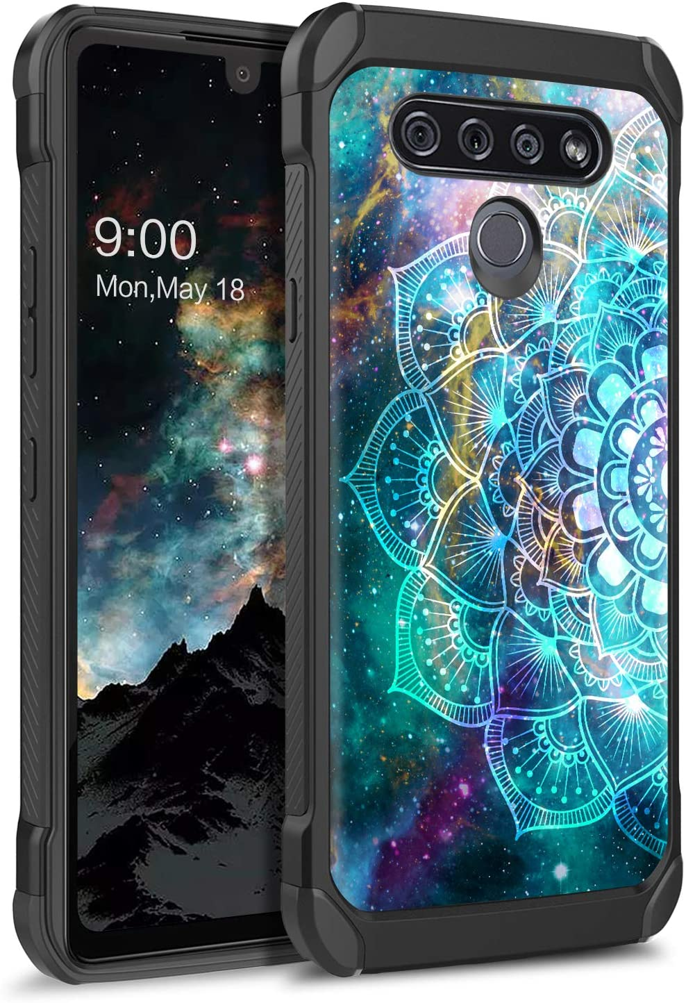 BENTOBEN LG K51 Case, LG Reflect Case, LG Q51 Case, Shockproof Glow in The Dark Luminous 2 in 1 Hybrid Hard PC Soft TPU Bumper Non-Slip Protective Phone Cases for LG K51 / LG Q51, Mandala in Galaxy