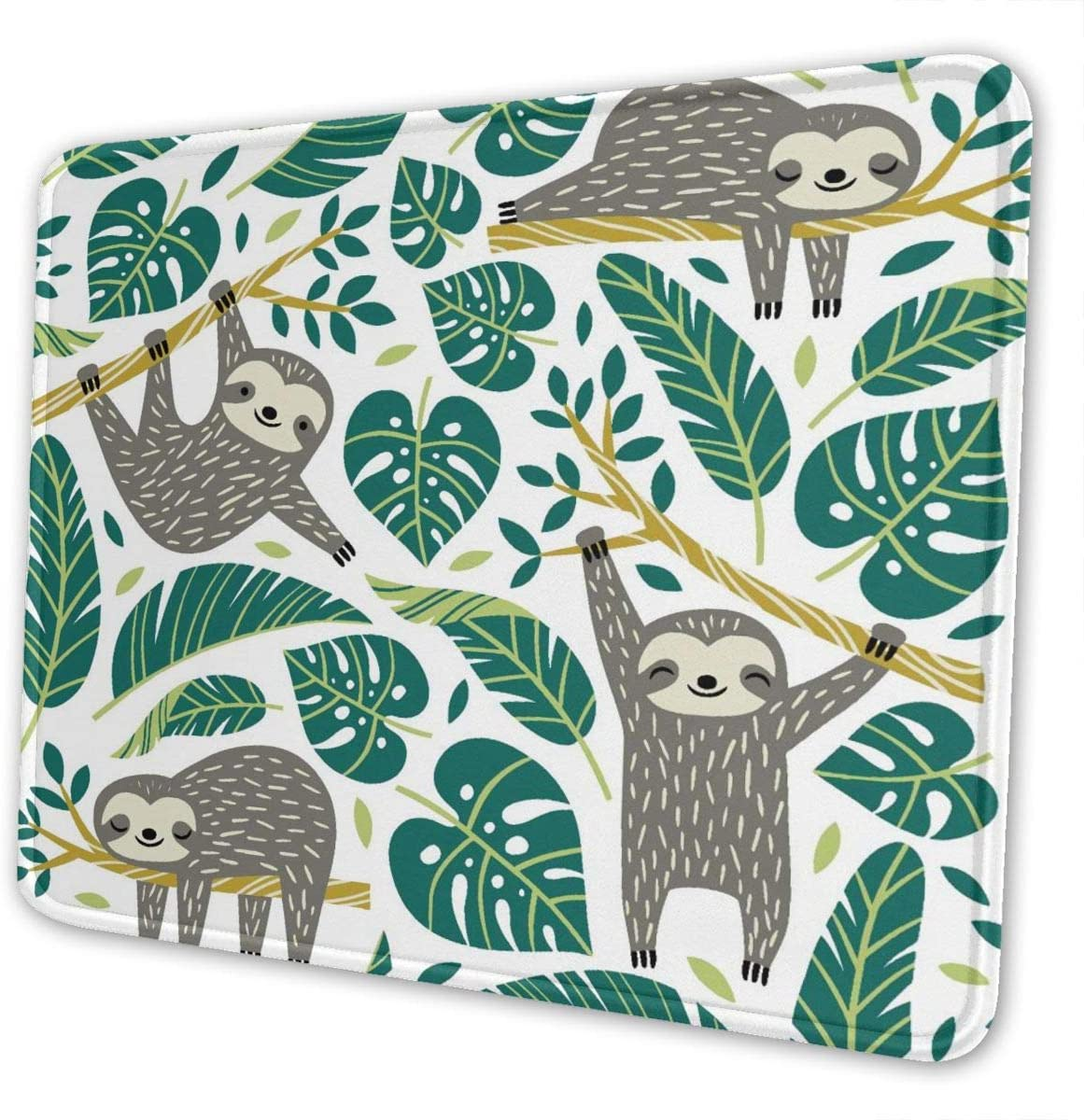 Mouse Pad Cute Sloths and Tropical Palm Leaves with Non-Slip Rubber Base, Premium-Textured Mousepads Bulk with Stitched Edges, Mouse Mat for Computers Gaming Laptop Office & Home 9.8x11.8 in