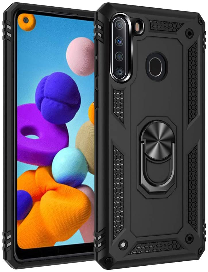 Telegaming Samsung A21 Case, Galaxy A21 Case with HD Screen Protector Kickstand Car Mount Holder, Heavy Duty Dual Layer Protection Phone Case Cover for Samsung A21 Black