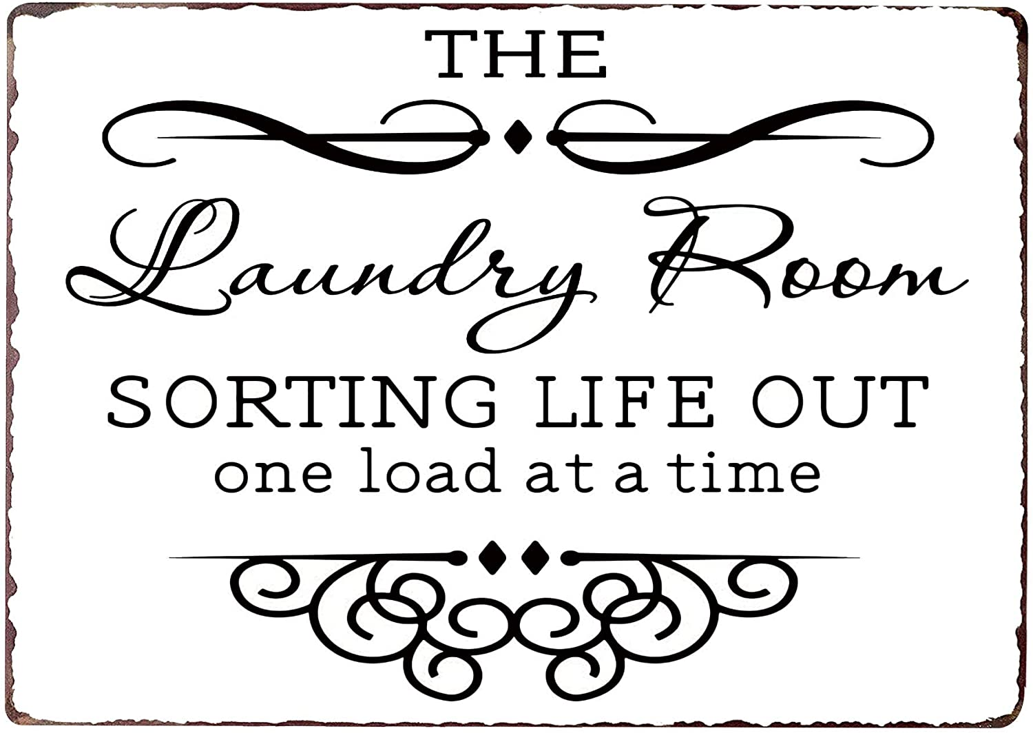 PXIYOU The Laundry Room Sorting Life Out One Load at a Time Vintage Metal Sign Home Bathroom Wash Room Signs Country Home Decor 8X12Inch