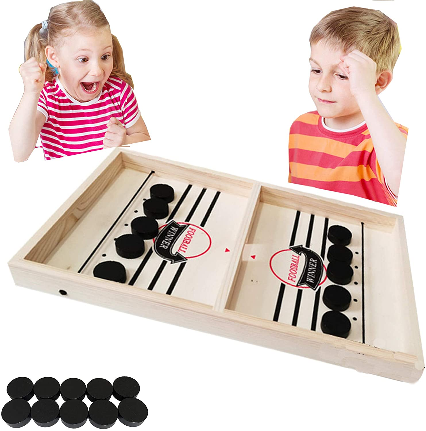 Fast Sling Puck Game Desktop Battle 2 in 1 Ball air Hockey Game Super Winner Board Games Foosball Slingshot Table Game Wood Interactive Chess Toy for Kids Family
