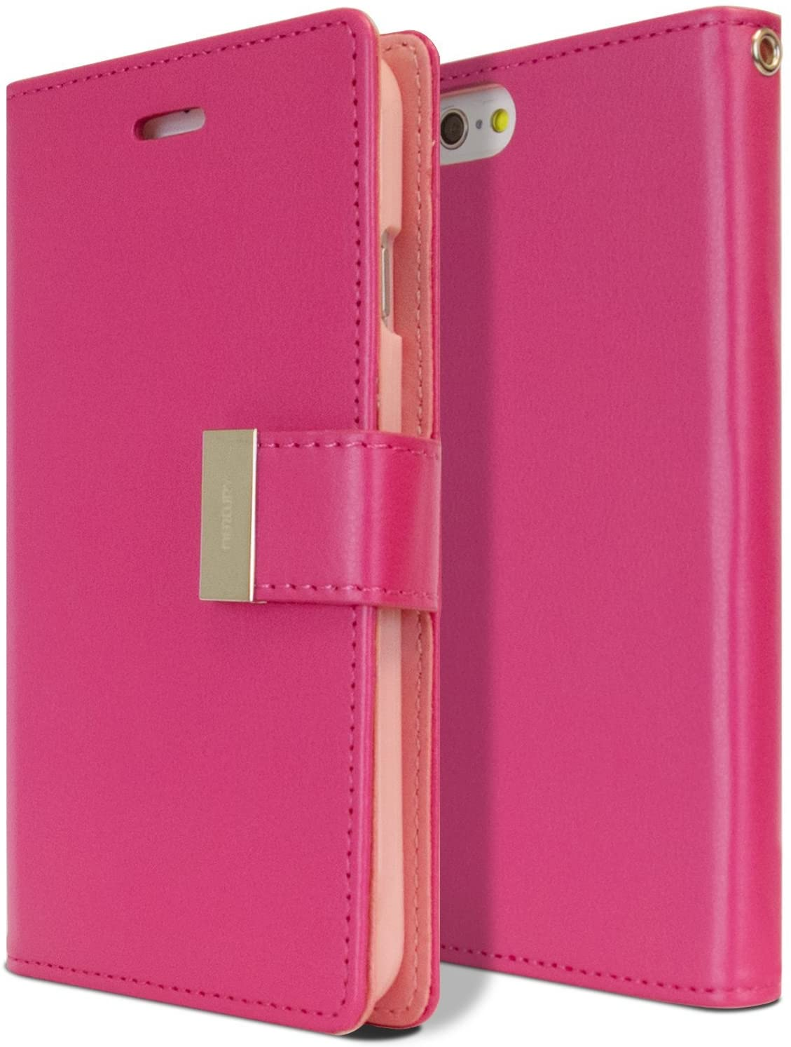 Goospery Rich Wallet for Apple iPhone 6S Case (2015) iPhone 6 Case (2014) Extra Card Slots Leather Flip Cover (Hot Pink) IP6-RIC-HPNK