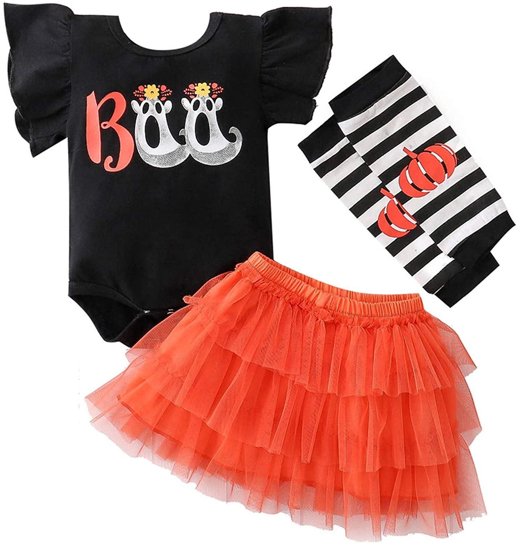 Newborn Infant Baby Girls Halloween Ruffle Short Sleeve Romper Tops + Tulle Tutu Skirts + Leg Warmer Outfits Set