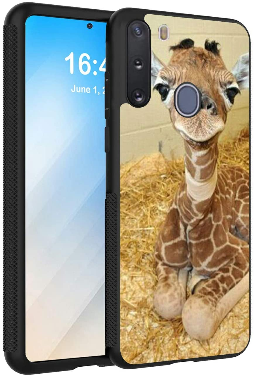 Galaxy A21 Case,AIRWEE Slim Anti-Scratch Shock Absorption Silicone TPU Deer Head Pattern Full Body Protective Cover Case for Samsung Galaxy A21
