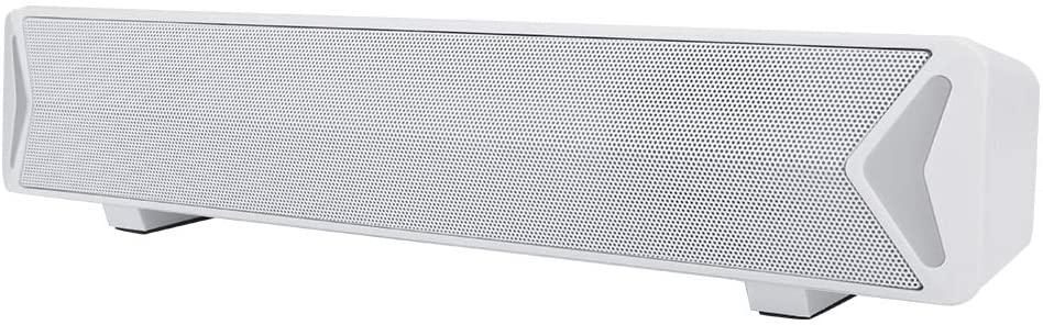 Qioni Multimedia Speaker, Durable ABS Small Bass Full Frequency Desktop Speaker, for Home(White)