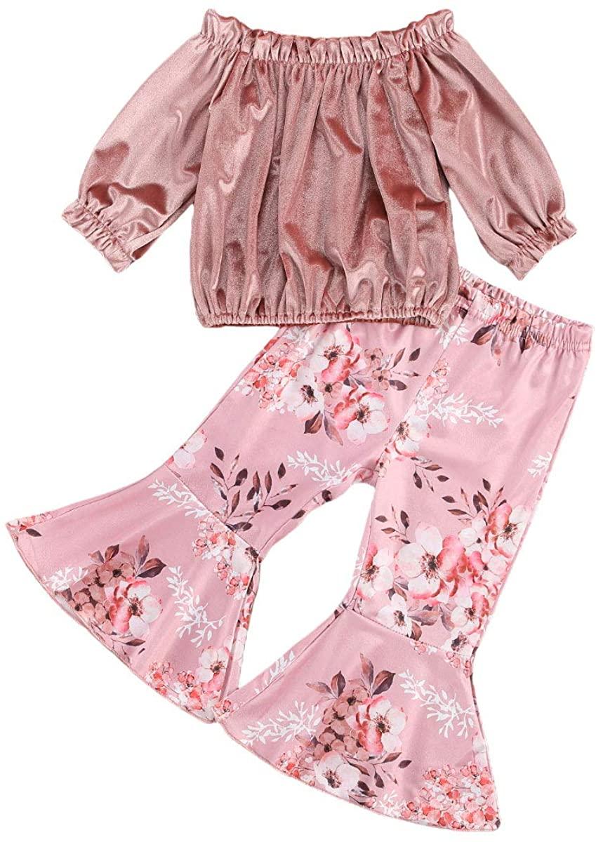 Kelala Toddler Baby Girl Thanksgiving Christmas Pants Set Long Sleeve Off Shoulder Shirt Bell Bottom Pants Outfits