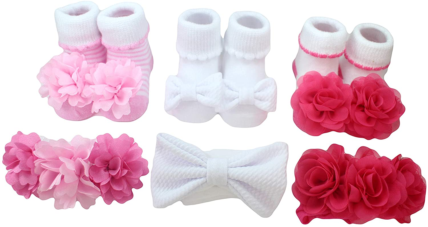 FIRST STEPS BY STEPPING STONES 6Pc Headwrap/Sock Set - ONE SIZE: 0-12MONTHS